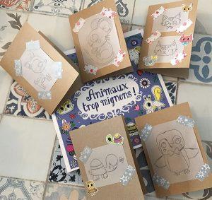 Cartes de voeux gommettes et papier calque