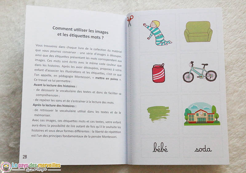 Images et étiquettes mots dans la pédagogie Montessori