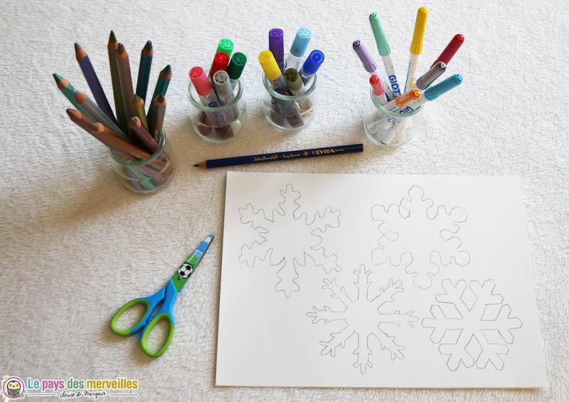 Matériel nécassaire pour une invitation à créer flocons de neige
