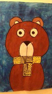 Peindre un ours frileux avec une écharpe décorée de graphismes