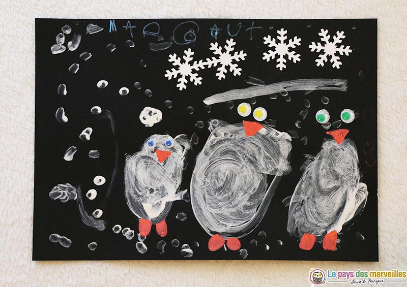 Pingouins dans la neige petite section