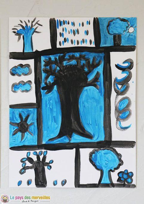 Arbre bleu à la manière de Pierre Alechinsky