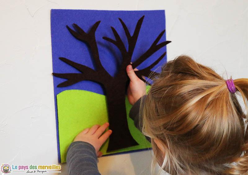 tableau de feutrine r utilisable l 39 arbre des saisons. Black Bedroom Furniture Sets. Home Design Ideas