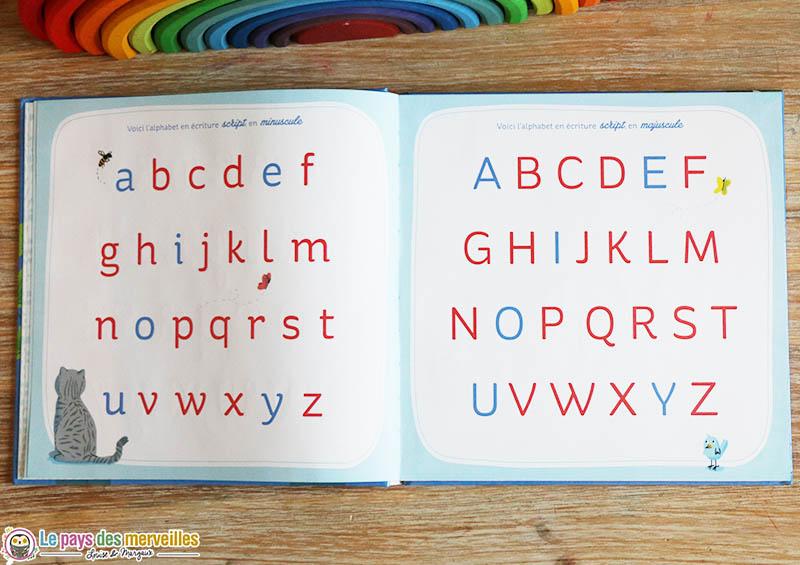 alphabet en écriture script majuscule et minuscule