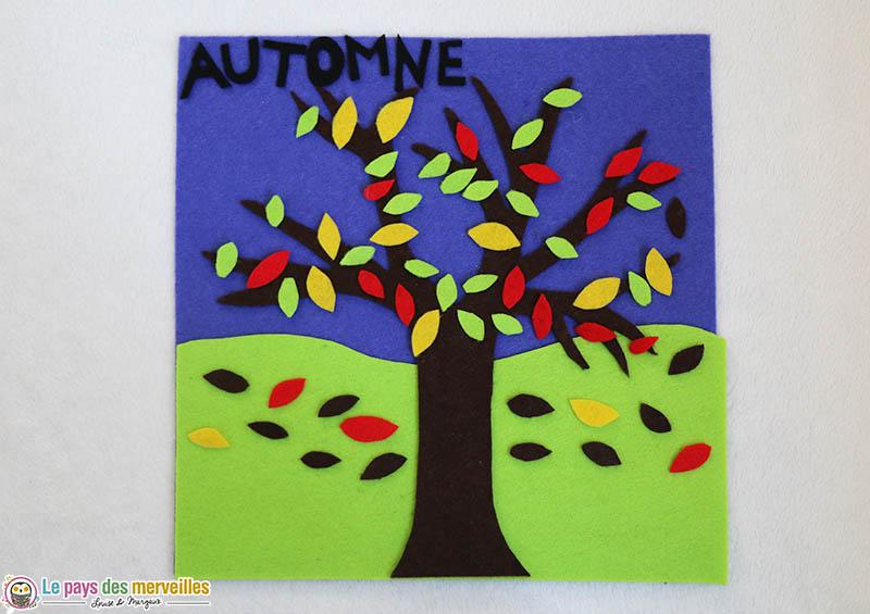 tableau de feutrine pour les enfants sur le thème de l'automne
