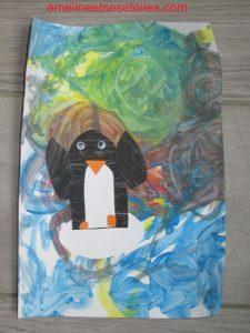 Pingouin en collage et peinture