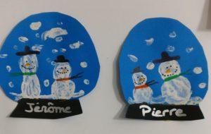 Boule à neige bonhomme de neige et peinture au coton-tige