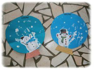 Boule à neige en peinture au coton-tige