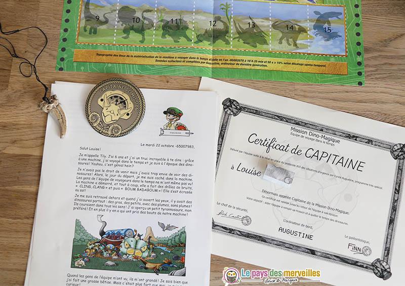 Contenu d'un courrier de la mission dinosaures Epopia