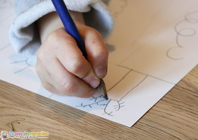 Dessin arbre d'hiver au crayon à papier