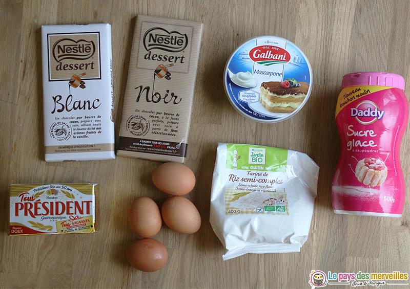 Ingrédients pour réaliser un gâteau au chocolat et à la mascarpone