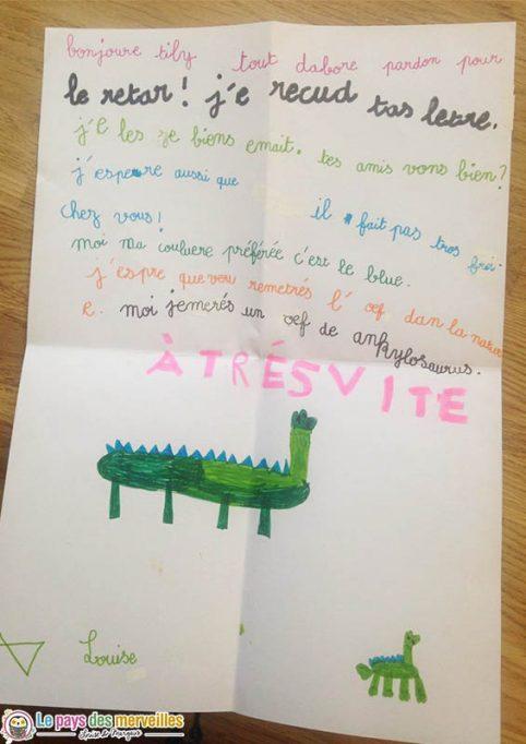 Lettre écrite par un enfant de 6 ans