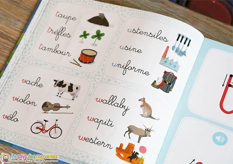 Mots illustrés en écriture cursive