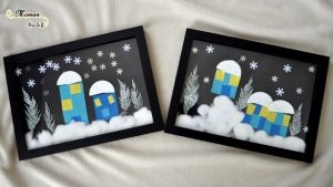 Paysage hivernal en collage