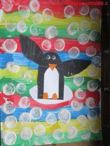 art visuel : Pingouin en peinture et collage (enfant 5 ans)