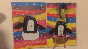 Tableau d'hiver avec un pingouin