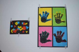 Oeuvres enfants à la manière d'Auguste Herbin et Andy Warhol