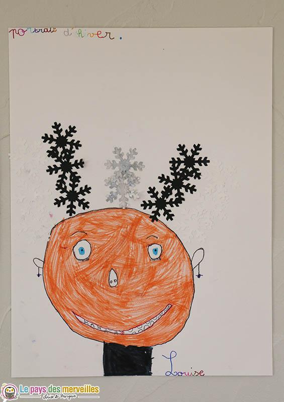 portrait d'hiver par une enfant de 6 ans
