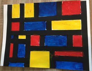 oeuvre réalisée à la manière de Mondrian en moyenne section de maternelle