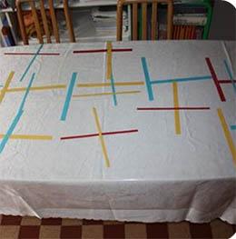 décoration de table éphémère à la manière de Mondrian