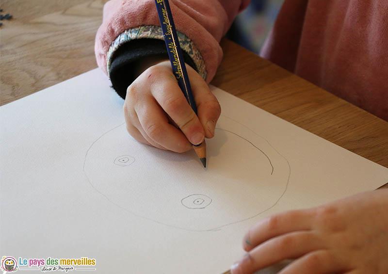 dessin d'un portrait par un enfant de 6 ans