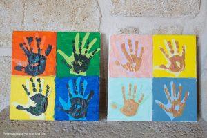 empreintes de mains à la manière de Warhol