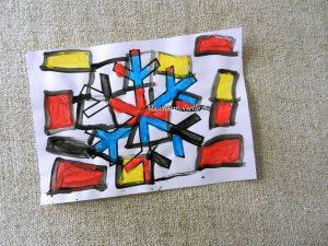 flocon de neige peint à la manière de Mondrian