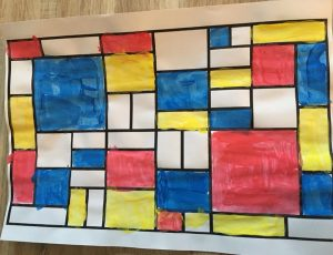 Peinture à la manière de Mondrian en maternelle