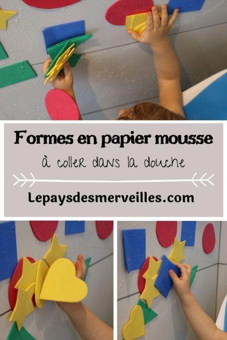 Formes en papier mousse à coller dans la douche