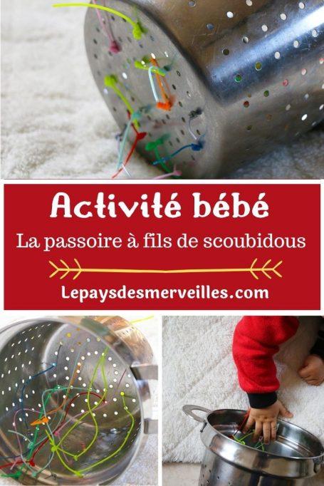 Activité bébé : la passoire à fils de scoubidous