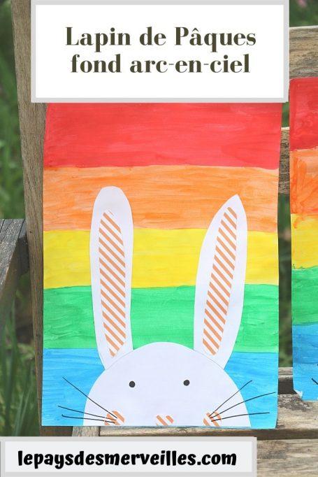 Lapin de Pâques collage et fond arc-en-ciel
