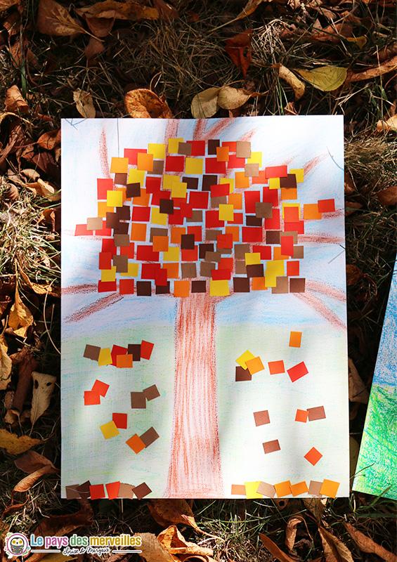 Activité d'automne avec des pastels et du papier