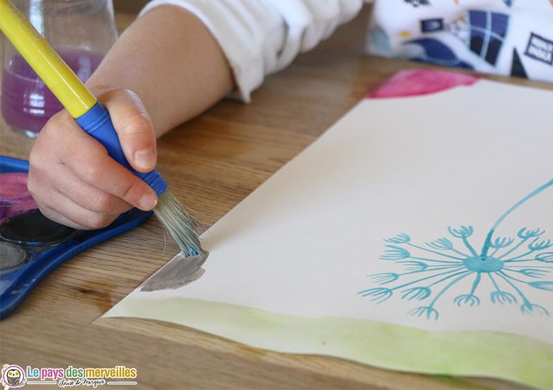 Oeuvre printanière aquarelle et drawing gum