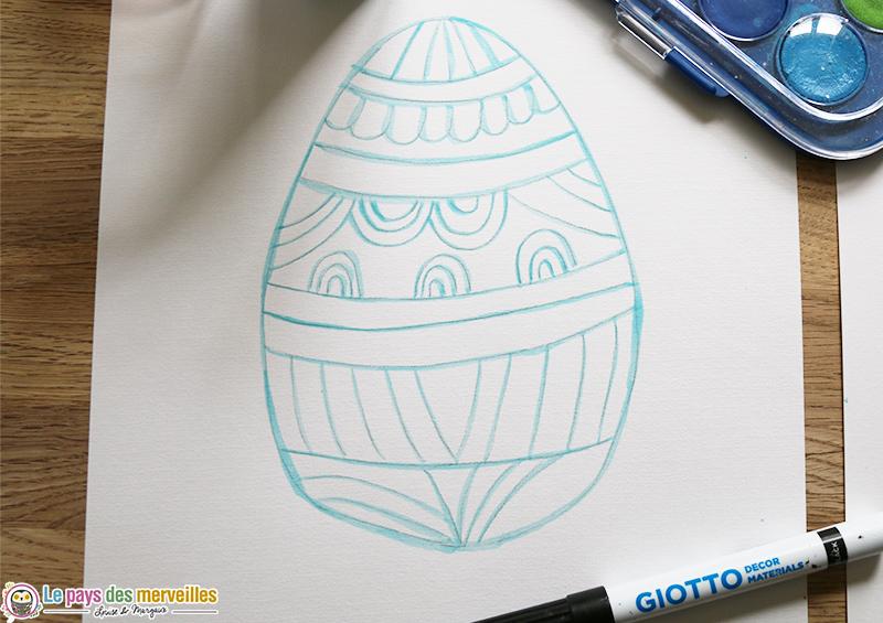 Drawing gum sur oeuf de Pâques