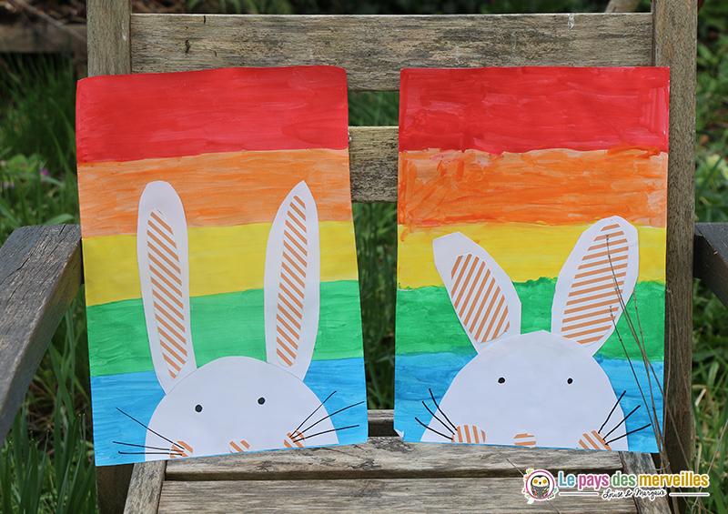 Activité d'art visuel Lapin de Pâques sur fond arc-en-ciel