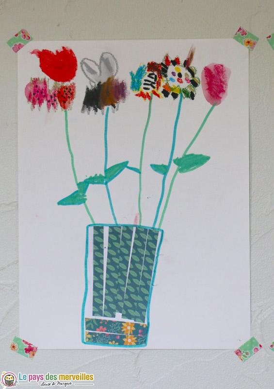 bouquet de fleurs aquarelle maternelle
