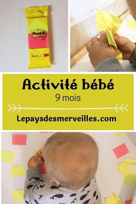 activité bébé 9 mois avec des post-it