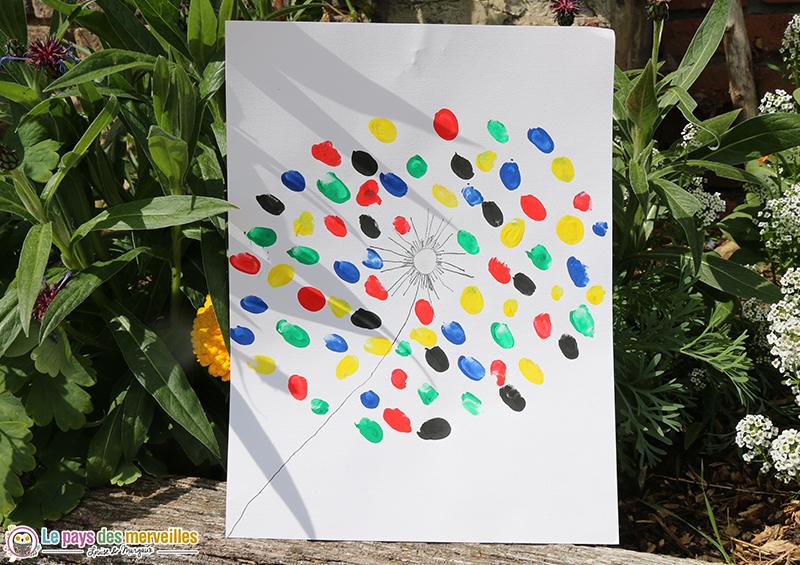 art visuel pissenlit peinture doigts