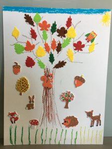 Dessin arbre d'automne et collage de gommettes