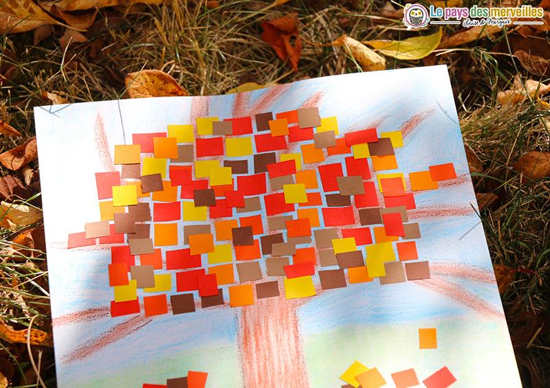 Arbre d'automne facile en mosaïque de papier