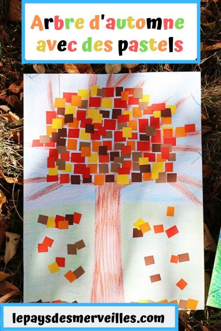 Arbre d'automne avec des pastels et du papier coloré