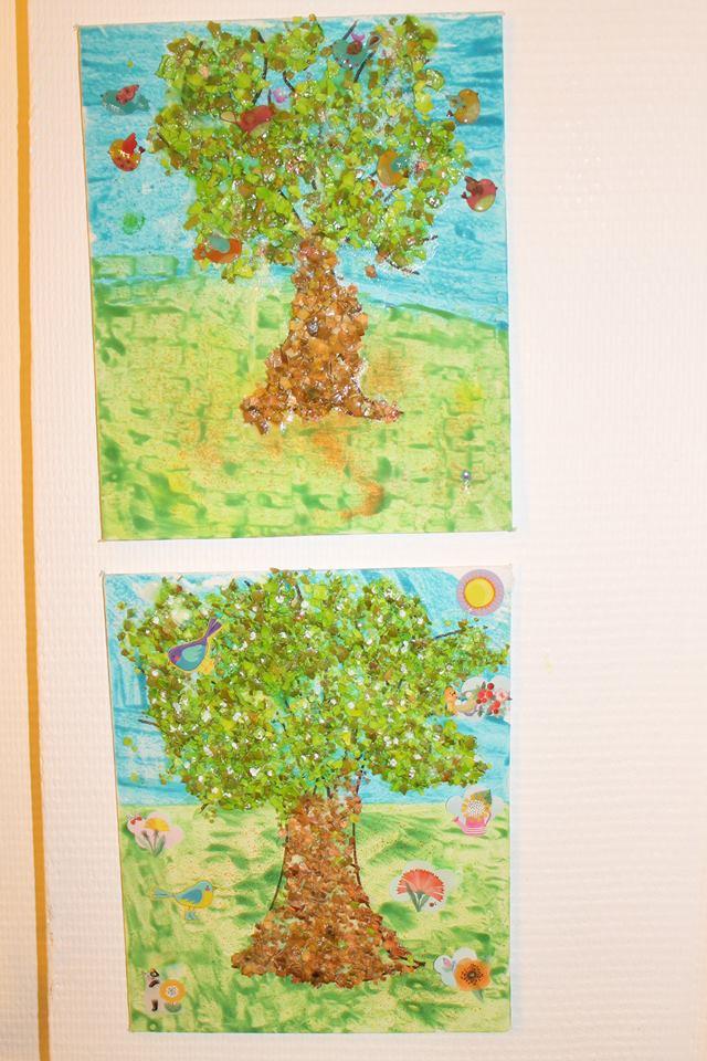 arbre en collage de coquilles d'oeufs