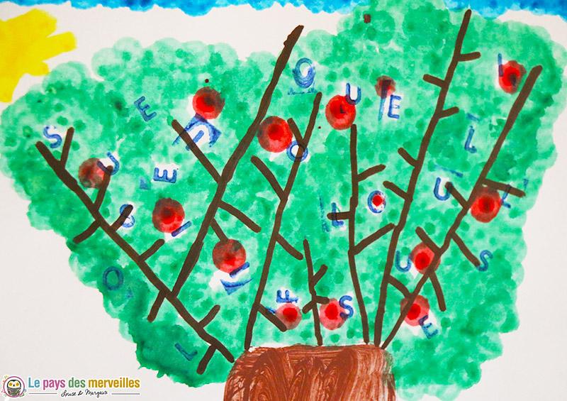 Lettres du prénom tamponnées dans le feuillage d'un arbre