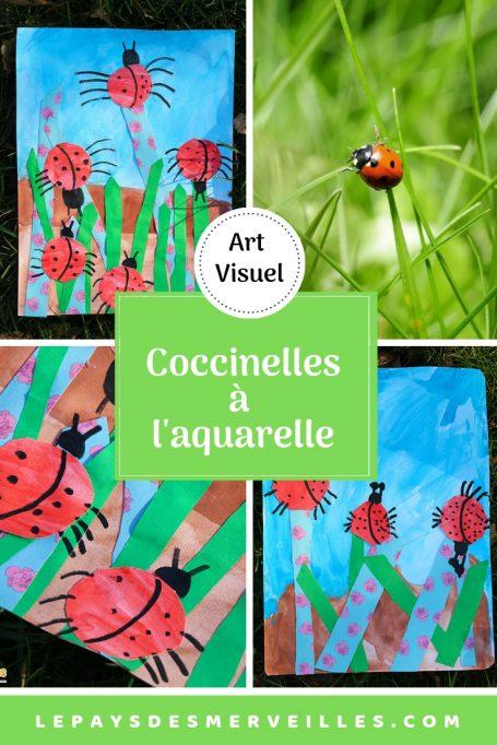 Tableau d'art visuel avec des coccinelles peintes à l'aquarelle