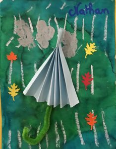 parapluie en papier en pliage accordéon