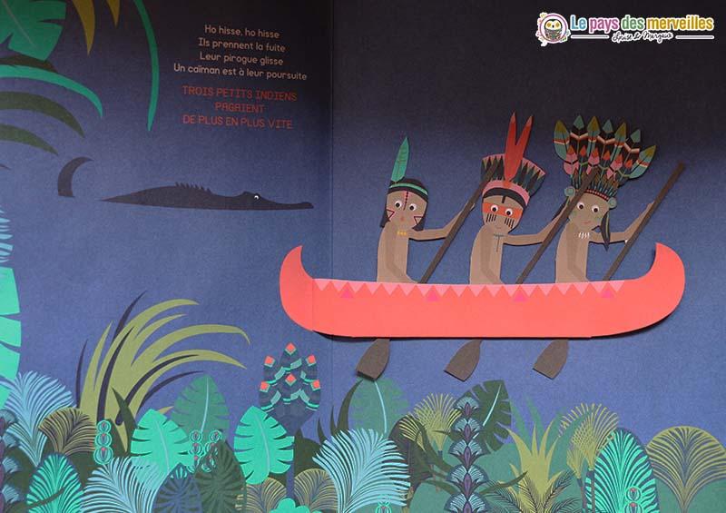 Animations pop-up dans le livre Trois petits Indiens