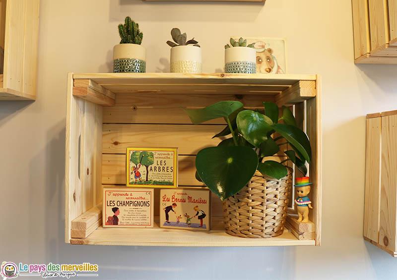caisse en bois brut pour faire des étagères