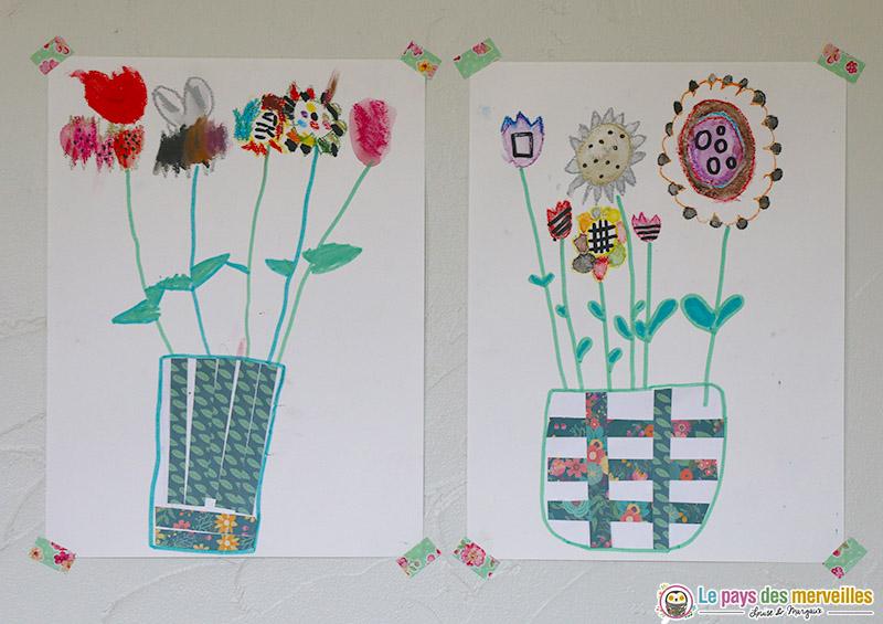 Bouquet de fleurs dans son vase dessin et collage - Dessiner un vase ...