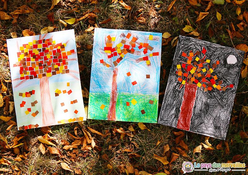 Arbres d'automne à la pastel et en collage de papier