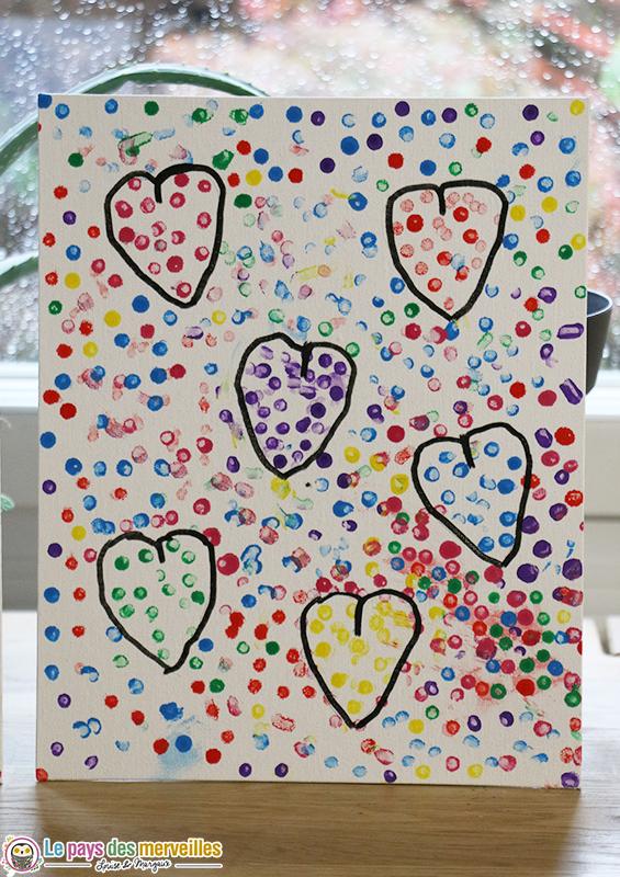 Bricolage coeurs peinture au coton-tige